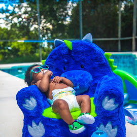 Chubby Monster 2 by Malik Marcell - Babies & Children Babies ( shades, monster, pool, blue, florida, infant, chubby, baby, relaxing, orange juice, gerber, kairo )