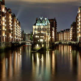 Wasserschloss by Robert Eckardt - City,  Street & Park  Historic Districts ( hafen, kanal, stadt, romantic, hamburg, speicherstadt, lights, night, germany, speicher, longexposure, schifffahrt, elbe )