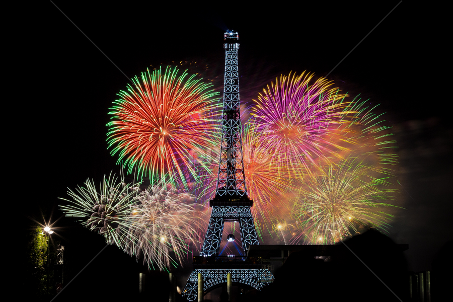 Eiffel Tower Fireworks, Paris by Dimitri Foucault - Public Holidays July 4th ( exposure, paris, famous landmarks, tower, eiffel, fireworks, night, long, light, painting, fire, works )
