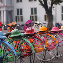 Bikes for Rent by Oni Budipramono - Transportation Bicycles ( colorful bicycles, indonesia, jakarta, colorful bikes,  )