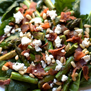 Asparagus and Spinach Salad with Warm Bacon Dressing