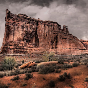 Arches Monolith by Brian Adamson - Landscapes Caves & Formations ( moab, tower, sandstone tower, arches national park, utah, monolith, formation )