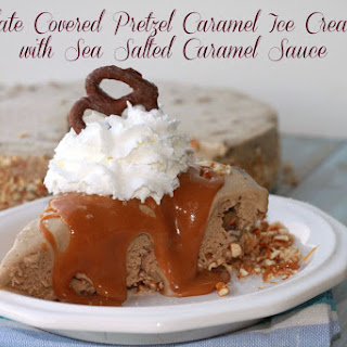 Chocolate Covered Pretzel Caramel Ice Cream Pie with Sea Salted Caramel Sauce
