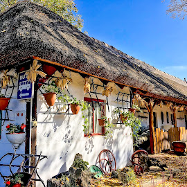 Thatched Roof Cottage by Shari Linger - Instagram & Mobile iPhone ( eastern europe, thatched roof cottage, hungary, old towns and villages, scenic places, lake balatan, travel )