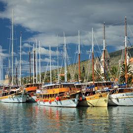 Harbor in Trogir by Tomasz Budziak - Transportation Boats ( croatia, harbor, boats, transportation )