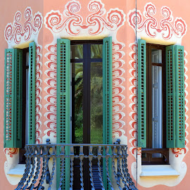Casa Museu Gaudi by Marco Bertamé - Buildings & Architecture Public & Historical ( casa museau gaudi, gaudi, decoration, green, peach, windows, museum, barcelona )