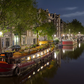 Prinsengracht by Bim Bom - City,  Street & Park  Vistas ( prinsengracht canal amsterdam night water reflections bridge lights boat houseboat, , city at night, street at night, park at night, nightlife, night life, nighttime in the city )
