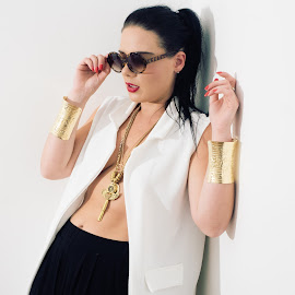 Wendy Louise by Mark Wood - People Portraits of Women ( shades, fashion, black hair, jewellery, white, gold, sunglasses )