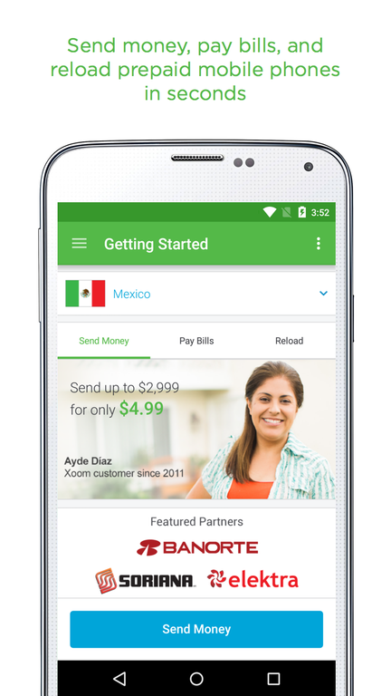 Xoom Money Transfer Screenshot