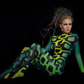FIn by Dan Pham - Nudes & Boudoir Artistic Nude ( greenish, body painting, artistic, beauty, women )