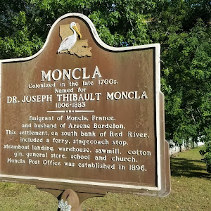 Colonized in the late 1700s.Named forDr. Joseph Thibault Moncla1806-1883  Emigrant of Moncla, France, and husband of Arsene Bordelon. This settlement, on the south bank of the Red River, included a ...