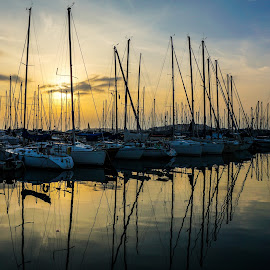Yacht Marina by Santa Liepina - Transportation Boats ( mirrored reflections, sky, colors, sunset, yacht, marina )