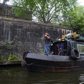 camden by Kathleen Devai - City,  Street & Park  Street Scenes ( water, london, brick, boat, canal, man, city )