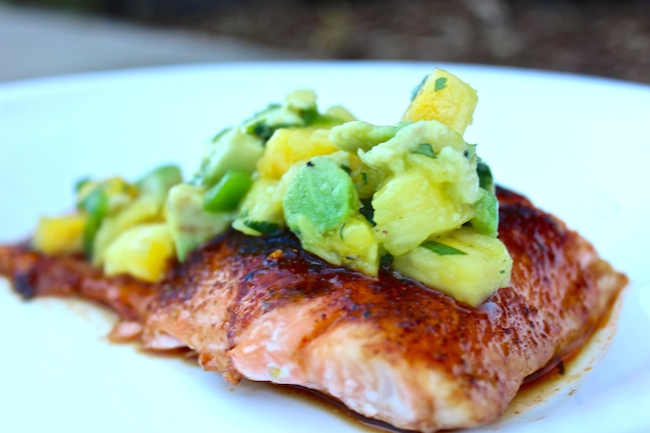 Sweet & Spicy Salmon with Pineapple Avacado Salsa Recipe | Yummly