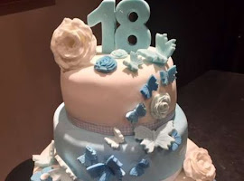 18th butterfly themed cake