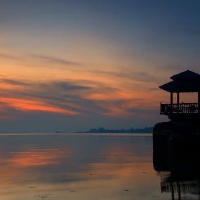 Lone Ranger by Jerome Tan - Landscapes Waterscapes ( hut, lone, ranger, sunrise, pulau ubin )