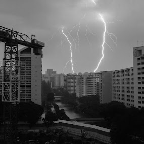 Streaks of Lightning by Kai Jian - News & Events Weather & Storms ( lightning, sky, thunderstorm, black and white, weather, construction, rain, singapore, neighbourhood )