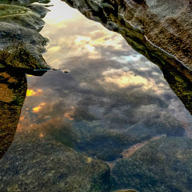 water in the sky by Peter Schoeman - Instagram & Mobile iPhone ( water, reflection, sea, rocks )