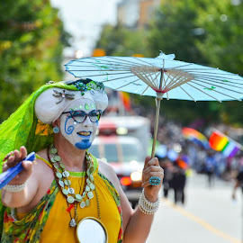 Parasol by Cory Bohnenkamp - People Street & Candids ( pride, parade, person, makeup, umbrella, parasol, costume, people, man,  )