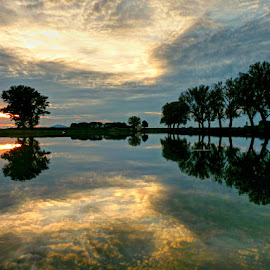 Sunset at magic lake.. by Željko Salai - Landscapes Sunsets & Sunrises