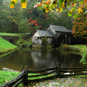 Mabry Mill by Steve Cooper - Buildings & Architecture Architectural Detail ( mill wheel, ponds, mills, autumn, rain )