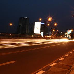 Street at Night by Ahmat Supriyadhi - City,  Street & Park  Street Scenes ( lights, traffic, street, nights, slow speed, , city, night )