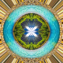 River Looping by Andy Vic Brown - Digital Art Abstract ( abstract, washington, pnw, blue, circle, river )