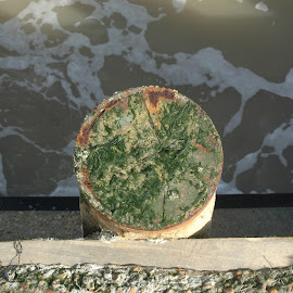 Post top by Mark Collins - Nature Up Close Water ( groyne, post, sea, beach, rust, foam )