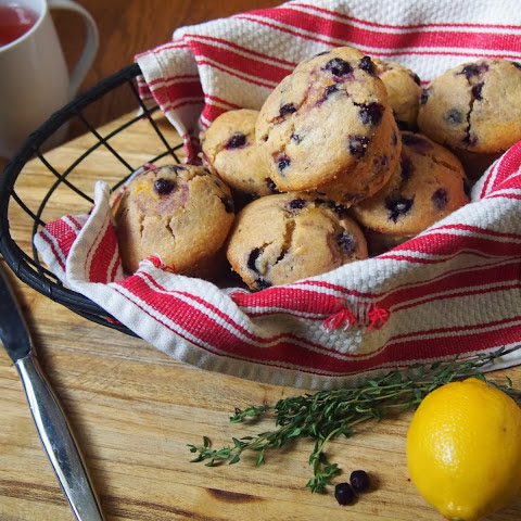 Wild Blueberry Corn Muffins with Meyer Lemon-Thyme Curd