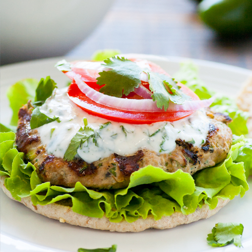 Cumin Zucchini Turkey Burger with Cilantro Aioli Recipe | Yummly
