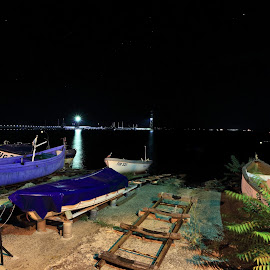 Pomorie at night by Sergey Sokolov - City,  Street & Park  Night ( arctic ocean, viaduct, bulgaria, ship, tidepool, aqua, seawater, coral, vessel, oil platform, freshwater, bay, resort, waves, arabian sea, night, pool, seabed, water, flood, offshore, red sea, body of water, coast, moon, ocean, naval, maritime, bridge, lake, indian ocean, coastal, southern, seal, marine, sea, mediterranean sea, sargasso, gulf, land, glacier, pacific ocean, fishing, seaweed, shore, boat, mediterranean, yacht, aquaculture, shellfish, earth, fish, north sea, atlantic ocean, coral reef, river, landscape )