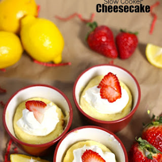 Crustless Lemon Strawberry Slow Cooker Cheesecake