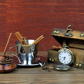 Cofee and cinnamon by Dipali S - Artistic Objects Still Life ( cup, aroma, stick, aromatic, breakfast, spice, pocket watch, beans, drink, ingredient, gourmet, closeup, dessert, cinnamon, seed, saucer, watch, coffee, white, kitchen, steel, morning, tasty, sweet, wooden, beverage, food, background, sticks, hot, cafe, brown, box, natural, napkin )