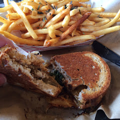 Such a creative sandwich with fig and goat cheese! And dedicated fryer for truffle fries!!