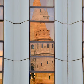 Ancient Gold Reflected in Modern Glass by Mike DeLong - Buildings & Architecture Places of Worship ( hungary, reflection, budapest, steeple, glass )