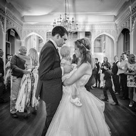 Wedding first dance by Jamie Ledwith - Black & White Portraits & People ( wedding photography, wide angle, black and white, wedding, donnington grove, family )