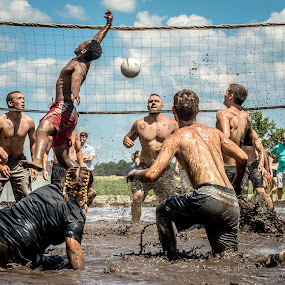 Fun In The Mud by T Sco - Sports & Fitness Watersports ( muddy, mud, park, volleyball, dirty, sports, sport, shower, net, outside, jump )