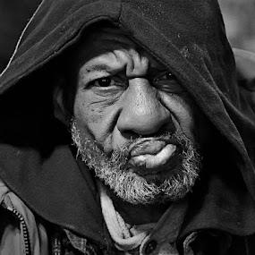 Fifth Street Phil by Josh Mayes - People Portraits of Men ( old, black & white, street, panhandler, portrait, close-up, character, eyes, urban, beggar, homeless, dayton, original, lips, beard, hood, nose, black, man )