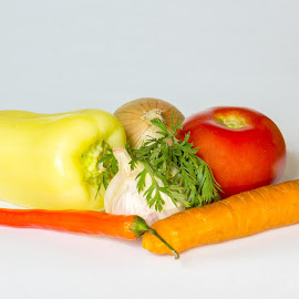 Vegetables by Serban Stelica - Food & Drink Fruits & Vegetables ( garlic, carrot, tomato, pepper, onion )