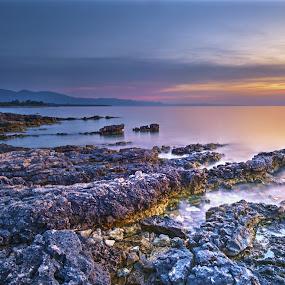 Peninsula sunset by Miho Kulušić - Landscapes Sunsets & Sunrises ( croatia, seascape, rocks, sunset, long exposure, sea,  )
