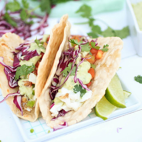 Halibut Fish Tacos with Avocado Aioli