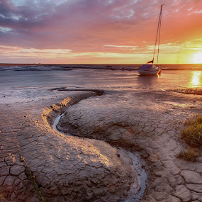 Leading out to Sea by Andy Young - Landscapes Beaches ( great sky, uk, merseyside, sunset, boats, low tide, hightown )