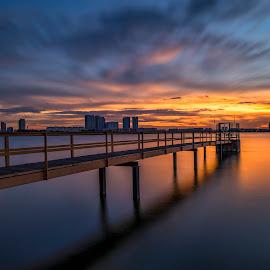 by Gordon Koh - Buildings & Architecture Bridges & Suspended Structures ( reflection, structure, sunset, asia, long exposure, bridge, architecture, singapore )
