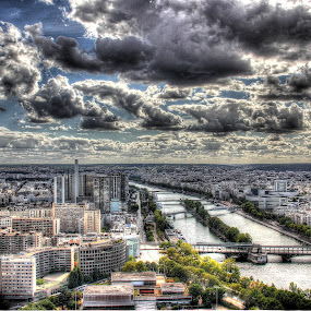 Parisian skies by John O'Groats - City,  Street & Park  Vistas ( clouds, paris, tower, sky, eiffel, france )