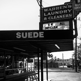 Sunset in Midtown Houston by Bert De Wilde - City,  Street & Park  Street Scenes ( museum district houston, black and white, sunset, houston, laundry,  )