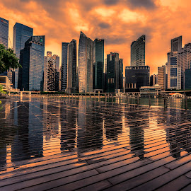 The Twin Cities by Gordon Koh - City,  Street & Park  Vistas ( abstract, clouds, shenton way, reflection, skyline, skyscraper, asia, cityscape, waterfront, rain, singapore, city )