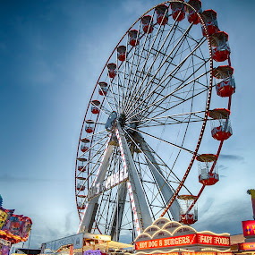 Hoppings Ferris Wheel by Davey T - City,  Street & Park  Amusement Parks ( funfair, hoppings, town moor, big wheel, fairground, 2016, newcastle, north tyneside, gosforth )