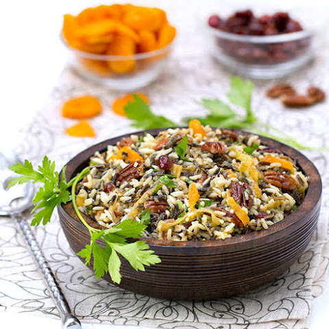 Wild Rice Salad with Cranberries Apricots and Pecans