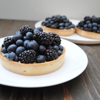 Blue and Black Berry Tart with White Chocolate Ganache