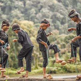 THE BOYS WITH THE COCONUT SHELL (SANDALS) by Aad S. Ahmad - Babies & Children Children Candids